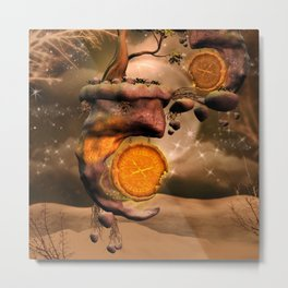 Fantasy world with flying rocks with clocks Metal Print