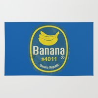sticker Area & Throw Rugs featuring Banana Sticker On Blue by Karolis Butenas