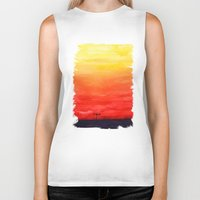 sunset Biker Tanks featuring Sunset by Timone