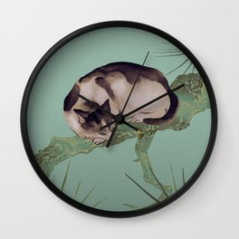 Cat In The Pines Wall Clock