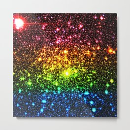 Rainbow Sparkle Galaxy Stars Metal Print