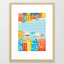 Whimsical Waterfront City Framed Art Print