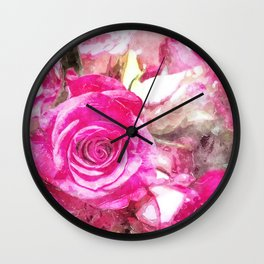 Bunch of Pink roses (watercolour) Wall Clock