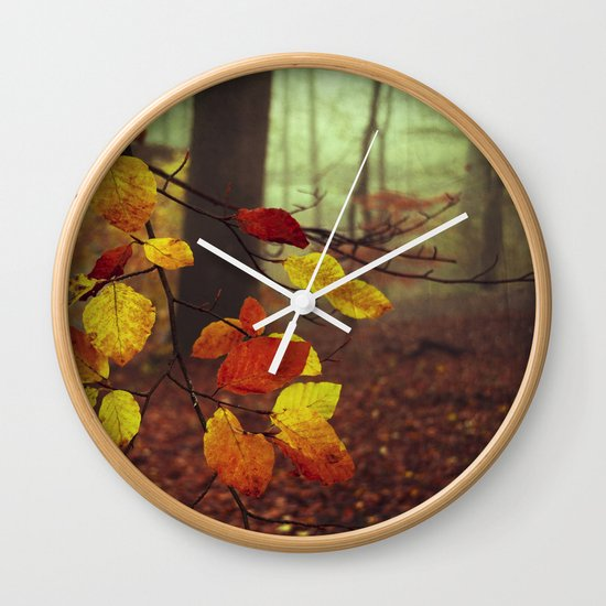 Leaves in Autumn Wall Clock