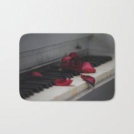 Piano with Red Rose Petals Bath Mat