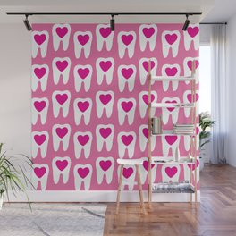 Teeth pattern with hearts in the center on pink background Wall Mural