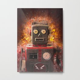 Robot on fire by Brian Vegas Metal Print