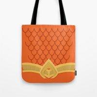 aquaman Tote Bags featuring I Am Aquaman by Alex Boatman