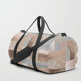 Copper and Blush Rose Gold Marble Quadrangle Geometrical Shapes Duffle Bag