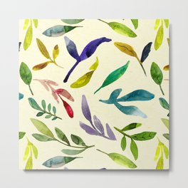 Sophisticated Colorful Floating Leaves Trendy Pattern Metal Print