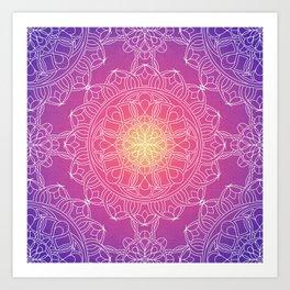 White Lace Mandala in Purple, Pink, and Yellow Art Print