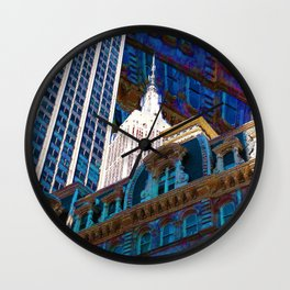 New York City Up Is Down Down Is Up Blue Wall Clock