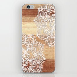 White doodles on blonde wood - neutral / nude colors iPhone Skin