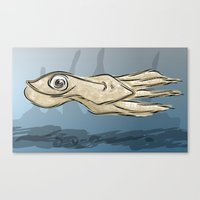 squid Canvas Prints featuring Squid by elledeegee