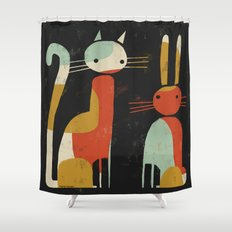 CAT AND BUNNY Shower Curtain