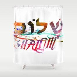Shalom Hebrew Word Shower Curtain
