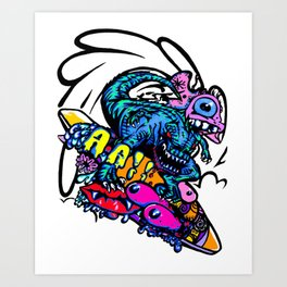 Dinosaur Wipe-Out Art Print