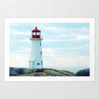 Old Lighthouse, Blue Ocean Art Print
