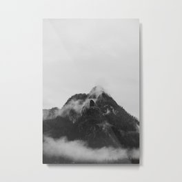 Snow Capped Mountains Fog (Black and White) Metal Print