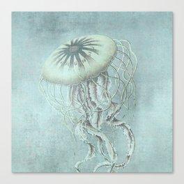 Jellyfish Underwater Aqua Turquoise Art Canvas Print