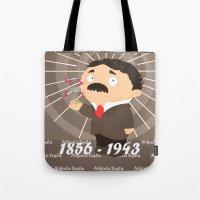 tesla Tote Bags featuring Nikola Tesla by Alapapaju