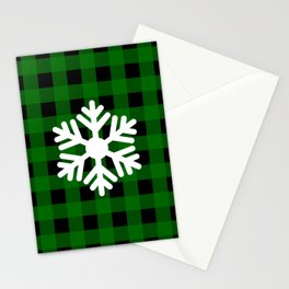 Snowflake - green buffalo check - more colors Stationery Cards