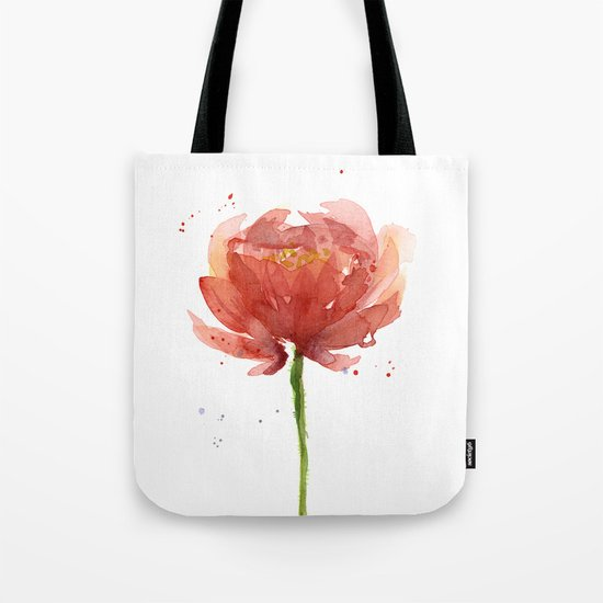 Red Flower Watercolor Floral Painting Tote Bag