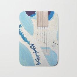 Blue Guitar and Strap Bath Mat