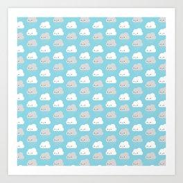 Happy and Sad Kawaii Clouds Art Print
