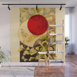 Japanese Ginkgo Hand Fan Vintage Illustration Wall Mural