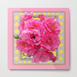 AWESOME PINK ROSES YELLOW-GREY LATTICE  DESIGN Metal Print