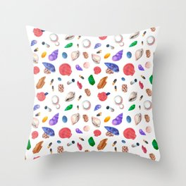 Hand painted pink coral green seashells nautical pattern Throw Pillow