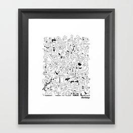 The Drawbridge - Doodle Poster B/W Framed Art Print
