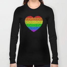 LGBT flag vibrant rainbow glitter sparkles Long Sleeve T-shirt