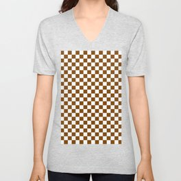White and Chocolate Brown Checkerboard Unisex V-Neck
