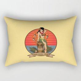Beautiful Hula Girl Pau Hana Time with Tiki Rectangular Pillow
