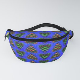 Blue hearts with green stripes on a purple background. Fanny Pack