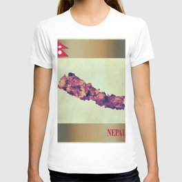 Nepal Map with Flag T-shirt