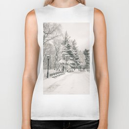 New York City Winter Trees in Snow Biker Tank