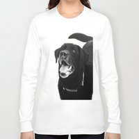 labrador Long Sleeve T-shirts featuring Labrador Happy by Jennifer Warmuth Art And Design