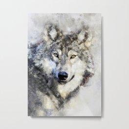 Watercolour wild grey wolf portrait Metal Print