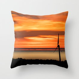 Isle of Anglesey Windmill Sunset over Irish Sea Throw Pillow