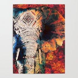 Indian Sketched Elephant Red Orange Poster