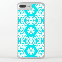 Woodblock Floral Trellis, Georgian Style 1800s - Turquoise and White Clear iPhone Case