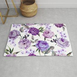 Elegant Girly Violet Lilac Purple Flowers Rug