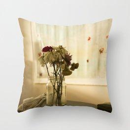 Soft warm flowers in studio Throw Pillow
