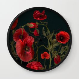 Red Poppies On Black Wall Clock