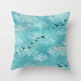 Blue sky birds Throw Pillow