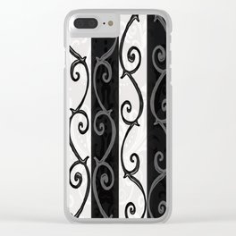 Burtonesque Stripes and Swirls.. Clear iPhone Case