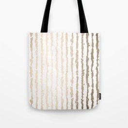 White Gold Sands Vertical Ink Stripes Tote Bag